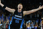 Gary Wilkinson of the Breakers celebrates on full time during game three of the NBL Grand Final series between the New Zealand Breakers and the Perth Wildcats. Photo / Phil Walter.