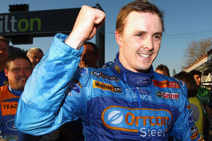 Mark Winterbottom driver of the #5 Orrcon Steel FPR Ford celebrates after winning race six of the V8 Supercar Championship Series. Photo / Getty Images.