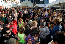 Queens Wharf shone during the Rugby World Cup, but has now been taken over by traffic. Photo / Sarah Ivey