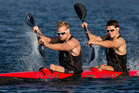 New Zealand Canoeists Steven Ferguson ( front ) and Darryl Fitzgerald will compete in the Men's K2 1000m for New Zealand at the Olympic Games in London. Photo / Brett Phibbs.