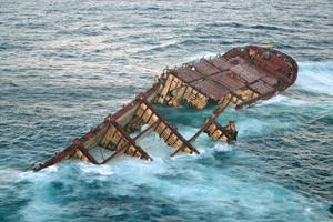 Rena seen in heavy swells. Photo / Maritime New Zealand