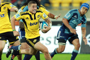 TJ Perenara of the Hurricanes during the match against the Blues. Photo / Getty Images