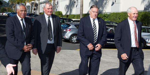 Pallbearers Waka Nathan, Sir Brian Lochore, Sir Colin Meads and Ian Kirkpatrick, following the funeral service for former All Black Sir Fred Allen at Eden Park. Photo / Brett Phibbs