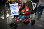 Grandmother Jacqueyne Taylor attended a rally to support increasing paid parental leave. Photo / Greg Bowker