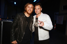 David Guetta and Tim Phin at Vector Arena, last night. Photo / Herald on Sunday 