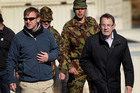 John Banks, pictured with Defence Minister Jonathan Coleman at Waiouru yesterday, has come under fire for not declaring campaign donations.  Photo / Alan Gibson