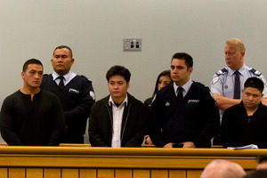 The scene in the High Court at Auckland yesterday as members of a multi-million dollar drug ring are sentenced to terms of up to 17 years in jail. Photo / Brett Phibbs