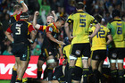 Brendon Leonard and Liam Messam of the Chiefs celebrate a try. Photo / Getty Images
