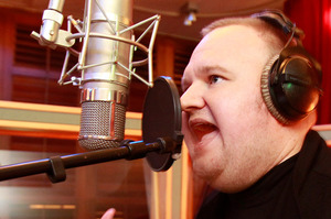 Kim Dotcom working on his rap album. Photo / Steven McNicholl