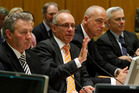 Fonterra chairman Sir Henry van der Heyden, flanked by director John Monaghan (left) and chief executive Theo Spierings. Photo / Mark Mitchell