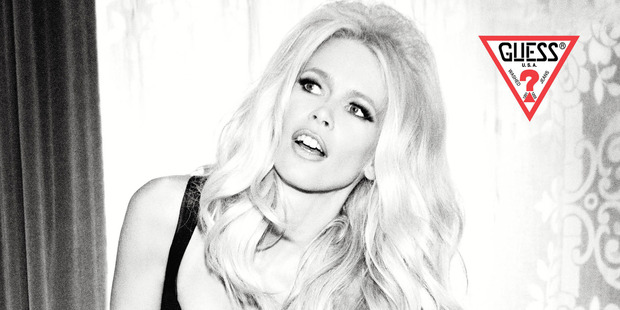 Guess celebrates 30 years in fashion using model Claudia Schiffer who also appeared in their early advertising campaigns. Photo / Ellen Von Unwerth