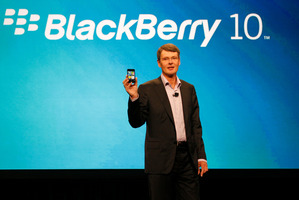 Thorsten Heins, president and CEO of Research In Motion, the company that makes BlackBerry, delivers the keynote speech during the BlackBerry World conference in Orlando, Florida. Photo / AP