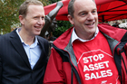 David Shearer (right) pictured with Greens co-leader Russel Norman, fronted the hikoi on asset sales, though he gained nothing from it. Picture / APN