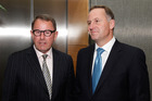 Prime Minister John Key with Act MP John Banks before their coalition talks at the Beehive, Wellington.  Photo / Mark Mitchell