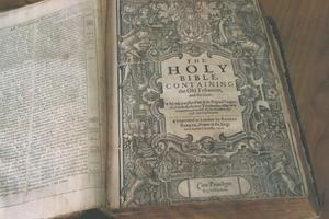 400-year-old King James Bible has been found in a box at the bottom of a cupboard in Palmerston North. Photo / Rob Mildon