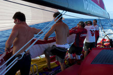 Shifting the stack before gybing, onboard CAMPER with Emirates Team New Zealand during leg 6 of the Volvo Ocean Race 2011-12, Photo / Hamish Hooper.