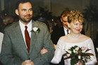 Malcolm Webster and Felicity Drumm on their wedding day in Auckland, 1997. Photo / Supplied