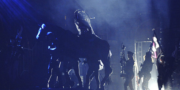 Lady Gaga arrives on stage on horseback during her gig in Seoul. Photo / AP