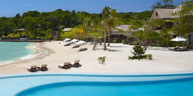 What was once scrubby shoreline has been transformed into a sandy playground for the well-off at Jamaica's GoldenEye resort. Photo / Christian Horan Photography - Island Outpost