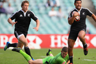Charles Piutau of New Zealand runs the ball during the Men's Sevens exhibition match between Australia and New Zealand at Allianz Stadium. Photo / Getty Images.