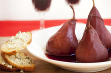 Red wine poached pears with blue cheese brioche. Photo / Babiche Martens
