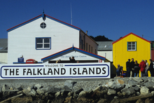 The waterfront in the Falkland Islands' main town of Stanley. Photo / Susan Buckland