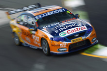 Will Davison pushing his Falcon hard during practice at the ITM 400 in Hamilton. Photo / Getty Images