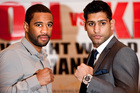 Lamont Peterson, left, of the United States, and British Boxer Amir Khan. Photo / Brynjar Gauti