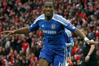 Chelsea's Didier Drogba reacts as he celebrates after scoring a goal against Liverpool during the English FA Cup Final soccer match at Wembley Stadium. Photo / AP