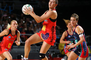 Khao Watts of the Magic grabs the ball during the round four ANZ Championship match between the Melbourne Vixens and the Waikato Bay of Plenty Magic. Photo / Getty Images.