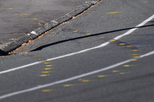 Police road markings at the scene of the crash.  Photo / Doug Sherring