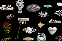 Nicky Donoghue's collection of 'mother' brooches. Photo / Babiche Martens