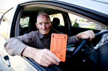 Henry Raynel spent more than an hour in the cold with his car clamped. Photo / Dean Purcell