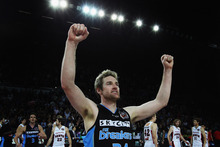 Dillon Boucher of the Breakers celebrates after winning game one of the NBL Grand Final series. Photo / Getty Images 
