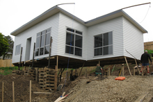 A Habitat for Humanity home placed on site in Cannons Creek, Porirua. Photo / NZ Herald
