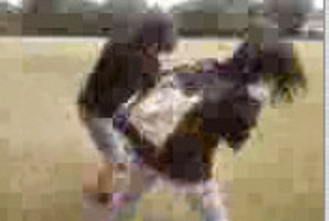 Cellphone footage shows a brutal attack on a Wanganui Girls' College student in March last year. Photo / Supplied