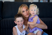 Kim Sims says she and her children Corbin and Mea are desperate to have the body of husband Blair returned. Photo / Stewart Nimmo