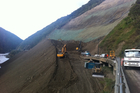 Mid-construction on the Manawatu Gorge roads. Photo / Supplied