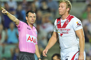Matt Prior was sent off in the 55th minute of Friday's game between the Dragons and Cowboys. Photo / Getty Images