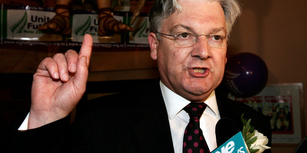 Peter Dunne speaking to supporters after winning his Ohariu Belmont seat at the 2005 election. Photo / Anthony Phelps