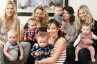 (From left) Shelley Ferguson and Flynn, Charlotte Corby and Elliot, Lucy Slater and Ed, Rachel Morton and Johnny and Olivia Hemus and Maggie. Photo / Olivia Hemus