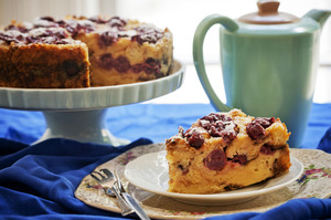 Cherry bread and butter pudding cake. Photo / Babiche Martens