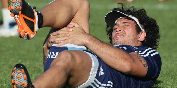 Rene Ranger stretches during an Aucland Blues Super Rugby training session at Unitec. Photo / Getty Images.