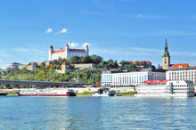 The large homes of wealthier inhabitants spread from Bratislava's imposing castle. Photo / Slovakia Travel