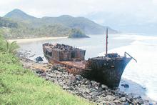 A shipwreck in Pago Pago on the island of Tutuila, American Samoa. Photo / David Arrowsmith