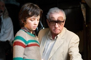 Asa Butterfield (who plays Hugo Cabret) with director Martin Scorsese. Photo / Supplied