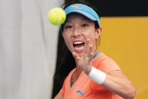 Zheng Jie's final win was watched by just 200 fans in the indoor venue. Photo / Natalie Slade