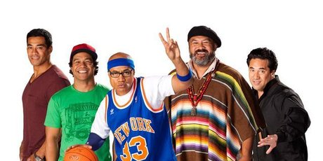 From left, Sione's 2 stars Robbie Magasiva, Shimpal Lelisi, Oscar Kightley, Dave Fane and laheto Ah Hi. Photo / Supplied