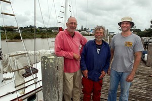 Glad to be back on dry land - (from left) Bill Clague, skipper Pete Deakin and Richard Hope, after their ordeal. Photo / Brett Phibbs