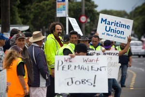 Ports of Auckland workers man the picket line outside the Port yesterday. Photo / Dean Purcell
